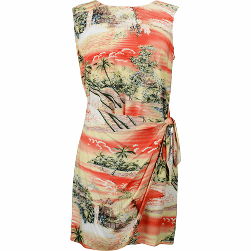 Clancey RJC Womens Tranquil Beach Short Hawaiian Mock Wrap Sarong Rayon Dress Robert J
