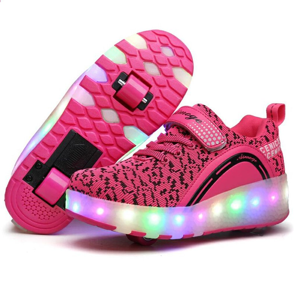 Heelys Led Light Sneakers Z Double Two Wheel Boy Girl Roller Skate Casual Buty Z Rolka Girl Zapatillas Zapatos Con Roller Shoes Roller Skate Shoes Girls Shoes