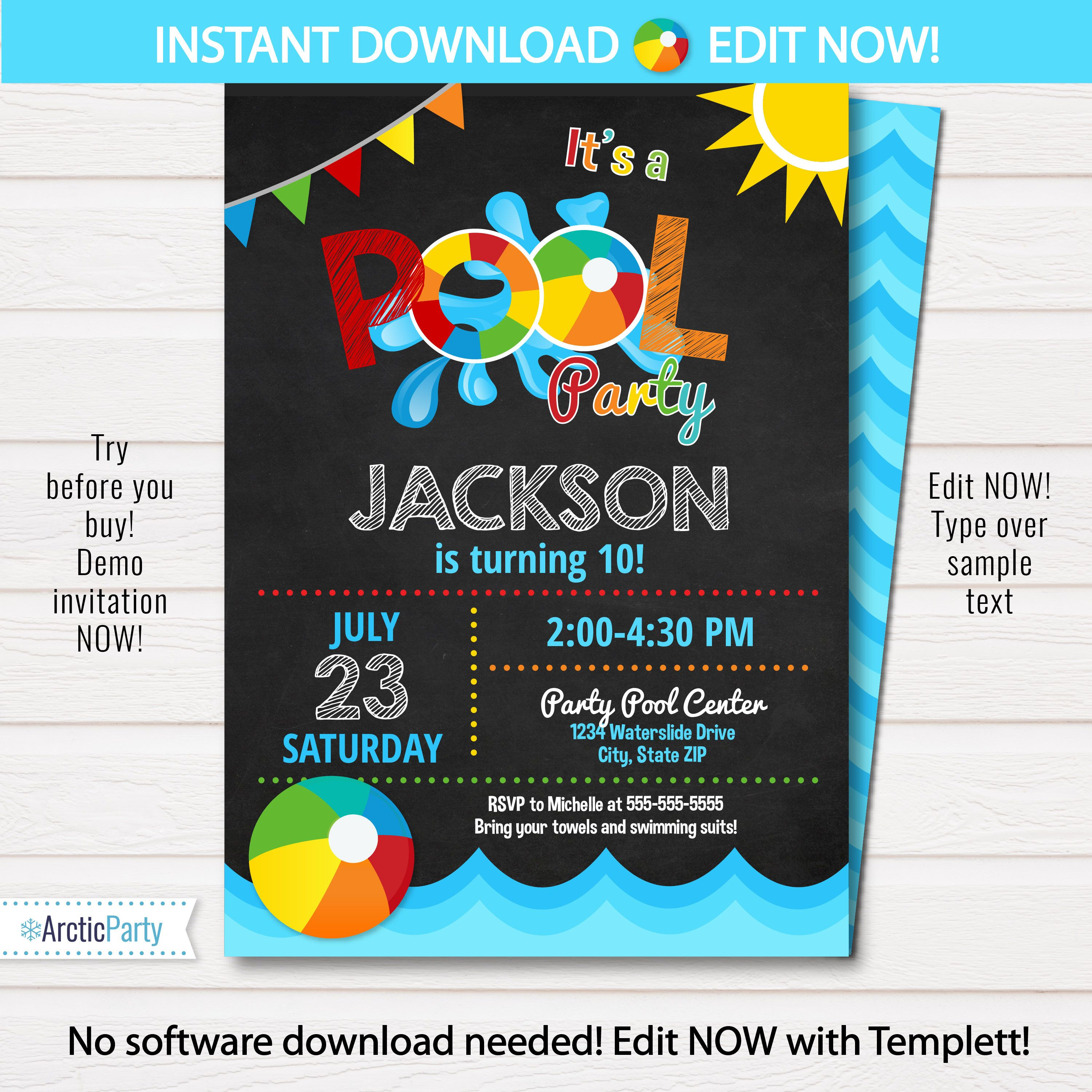 Pool Party Invitation - Swimming Pool Birthday Party - Pool Party ...
