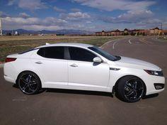 2013 Kia Optima White With Black And Chrome Rims Kia Optima Kia Black And Chrome Rims