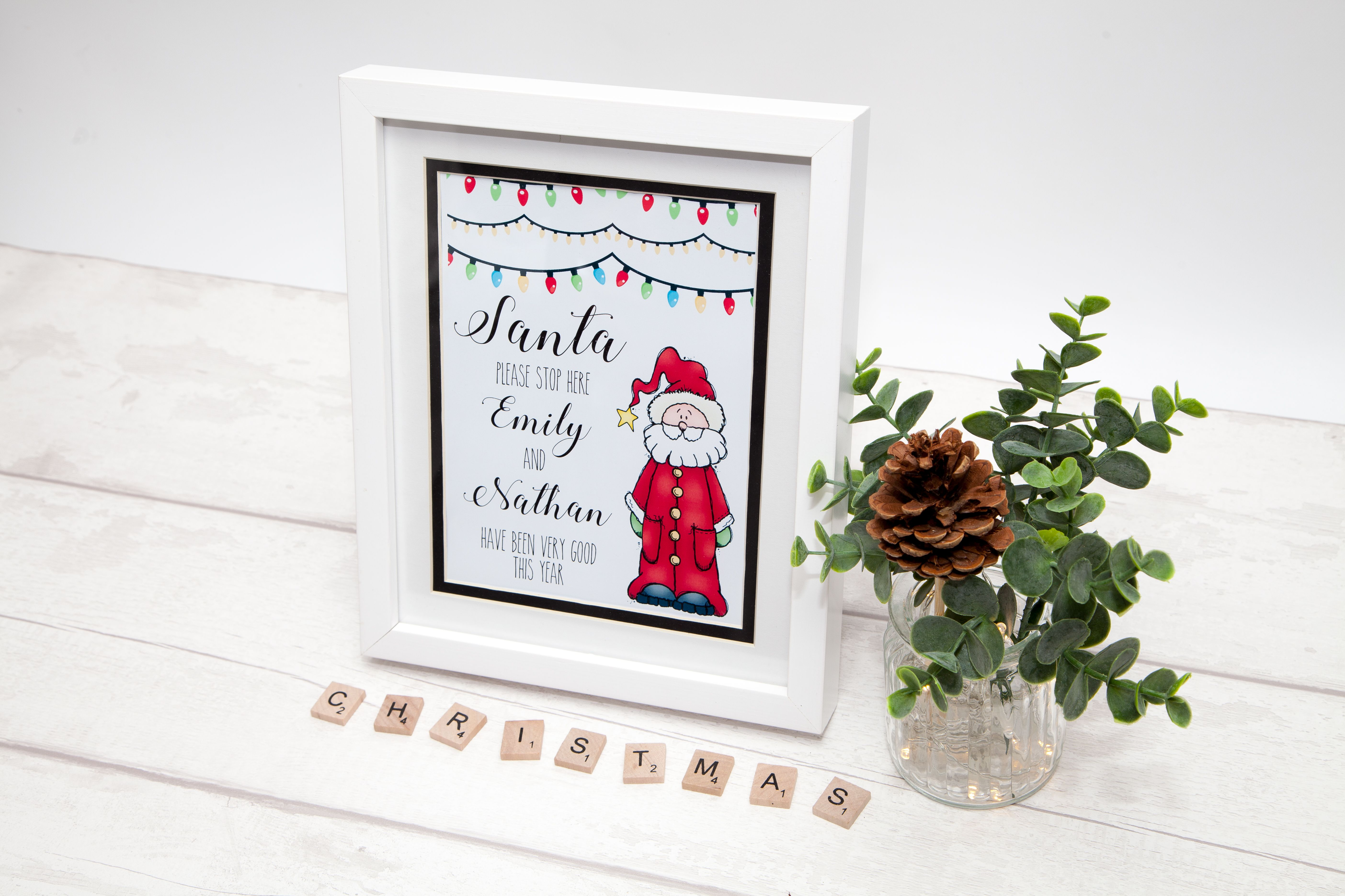 Personalised Santa Stop Here Window Signs Christmas Gift for him her!