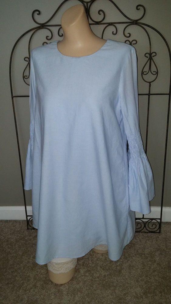 b162a743 Zara Trafaluc Collection Tunic Dress Jumpsuit Smocked Bell Sleeve Blue  Denim S #ZARA #TunicJumpsuit #Casual