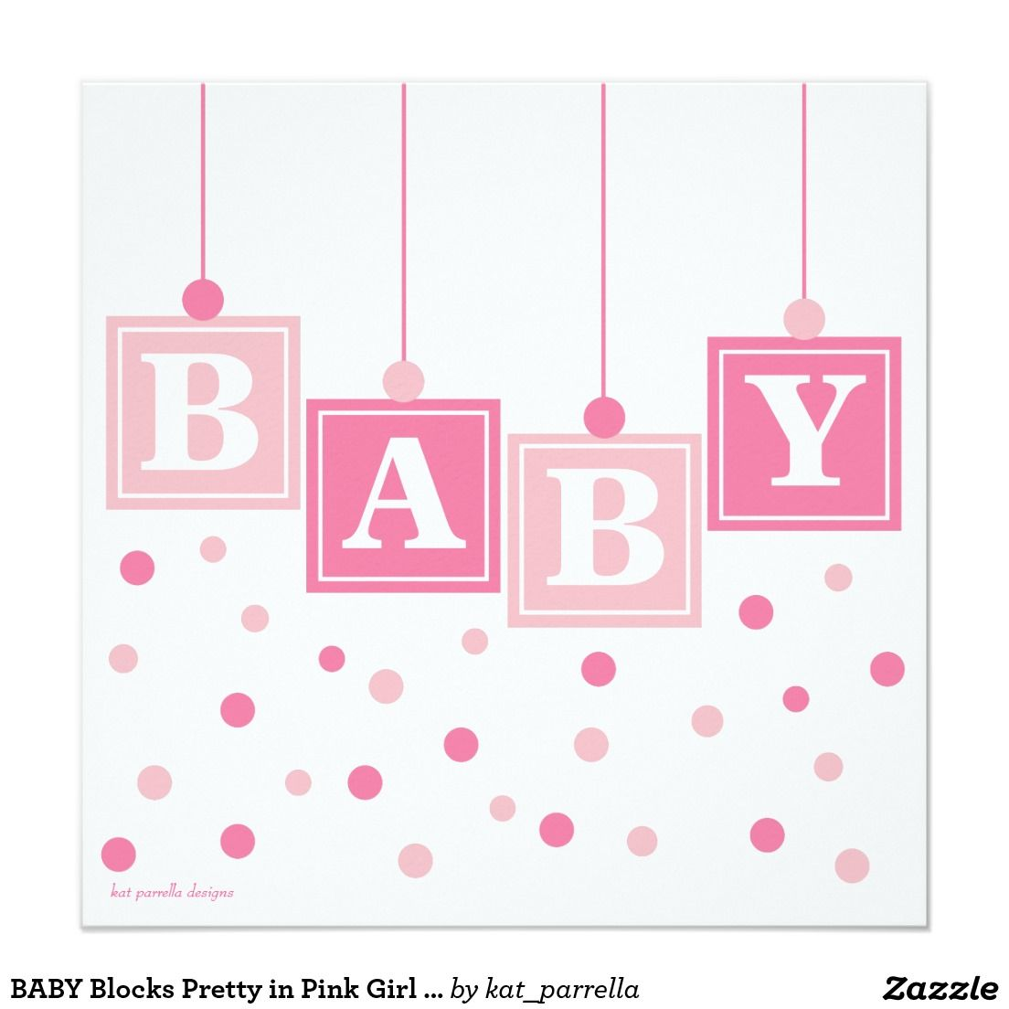 BABY Blocks Pretty in Pink Girl Baby Shower Card | Baby ...