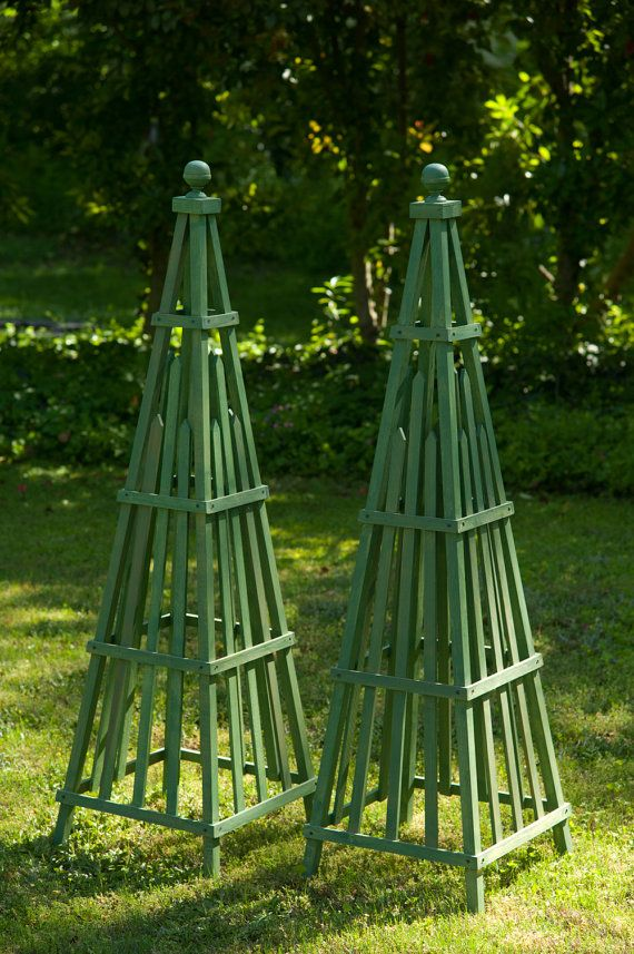 Garden Obelisk art sculpture wooden stained hardwood by