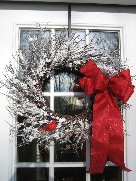 A Glittery Snow Covered Natural Twig Wreath With Little Red Cardinal And A  Red Holiday Bow With Extra Long Tails. Great For The Holidays And All Wiu2026