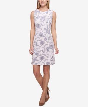5159a46c9d0 Tommy Hilfiger Floral-Printed Scuba Sheath Dress - Blue 14 ...
