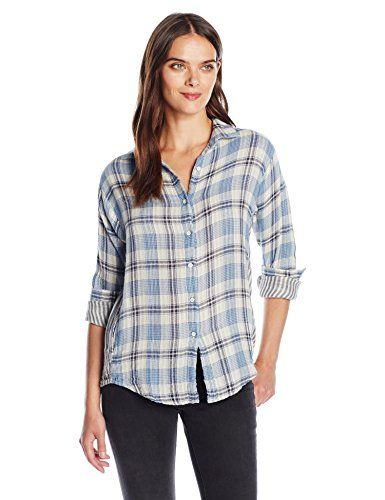 VELVET BY GRAHAM & SPENCER Women's Plaid Button Down Shirt, Blue, M. Softly brushed dual fold fabric. Plaid shirts group.