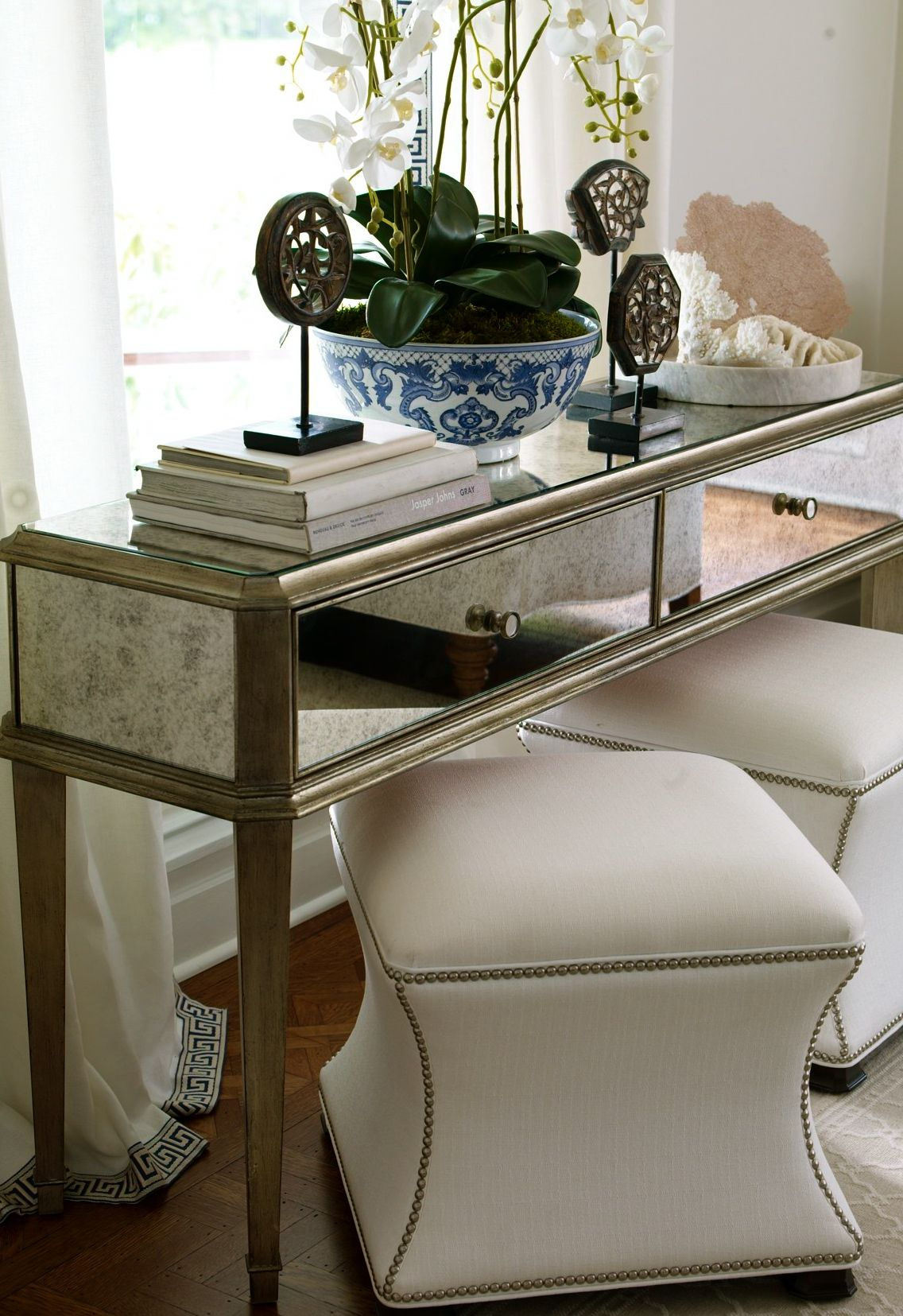 Antiqued Mirror Console Table Upholstered Nailhead Stools