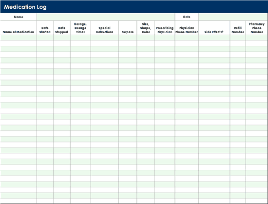 Medication Log  Templates  OfficeCom  Templates