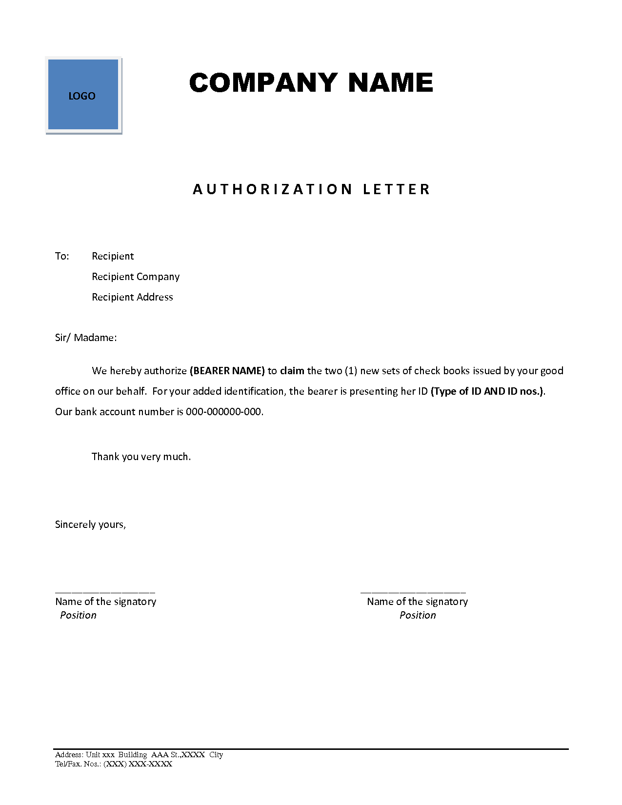 Letter For Documents Authorization And Making Mark Introduction