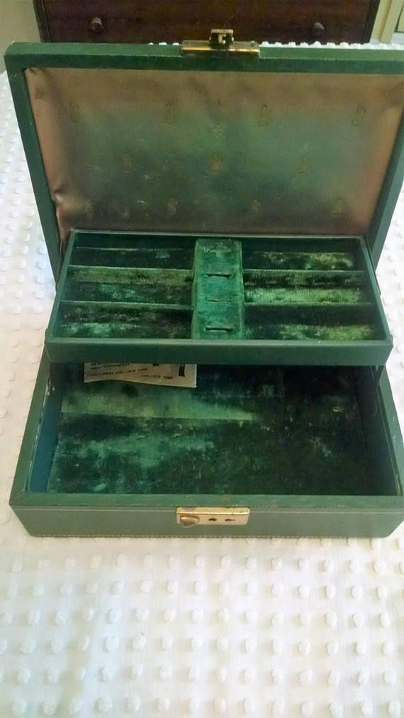 Sweet Emerald Green Vintage Mele Jewelry Box Satin And Velvet Interior 2 Tier Divided Sections Printed Gold Trim Secret Compartment Keys