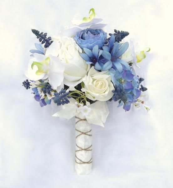 Exclusive Floral Designs Lovely Blue Ivory And White Silk Wedding Bouquet