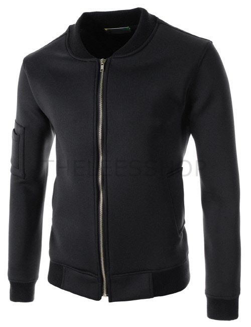 (FLJ01-BLACK) Mens Slim Fit Stretchy Zipper Arm Pocket Zipper Patch Long Sleeve Jacket