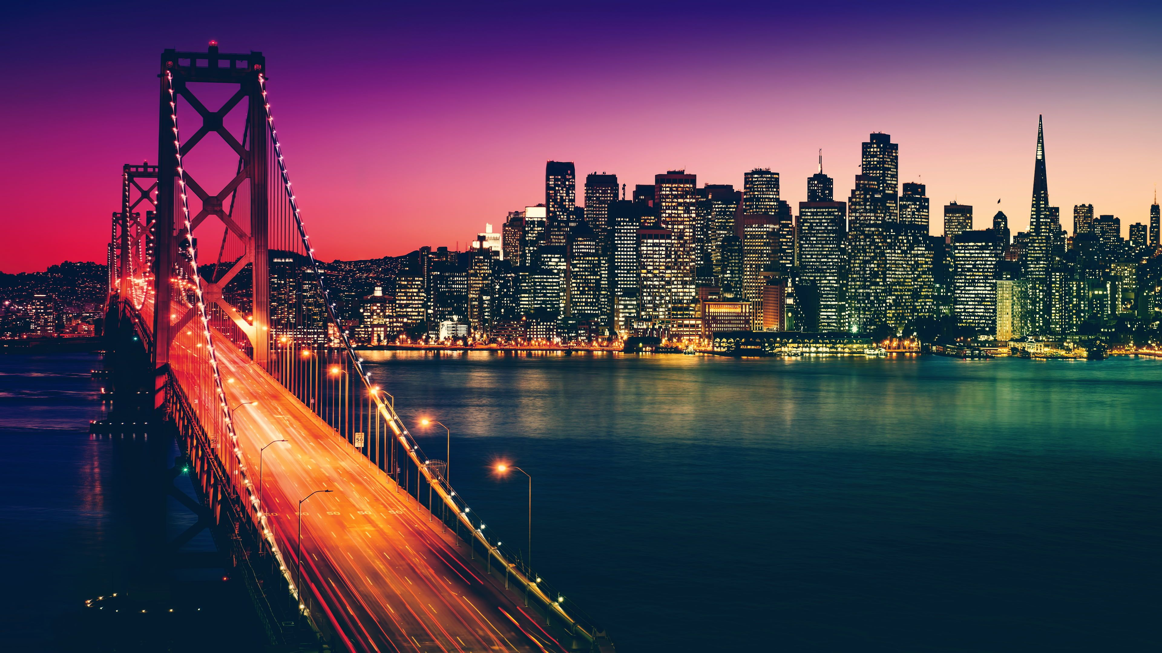 Places Golden Gate Bridge Night San Francisco Wallpapers Hd 4k Background For Android San Francisco Wallpaper 4k Background Background