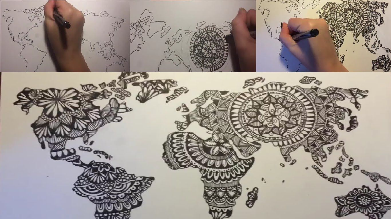 Creative world map drawing design drawingcoloring pinterest creative world map drawing design gumiabroncs Images