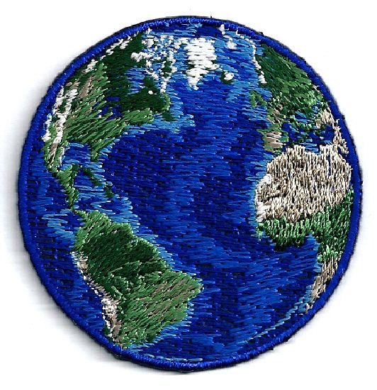 """EARTH - WORLD PLANET FULLY EMBROIDERED IRON ON PATCH - 2 1/8"""" (5.6cm)"""