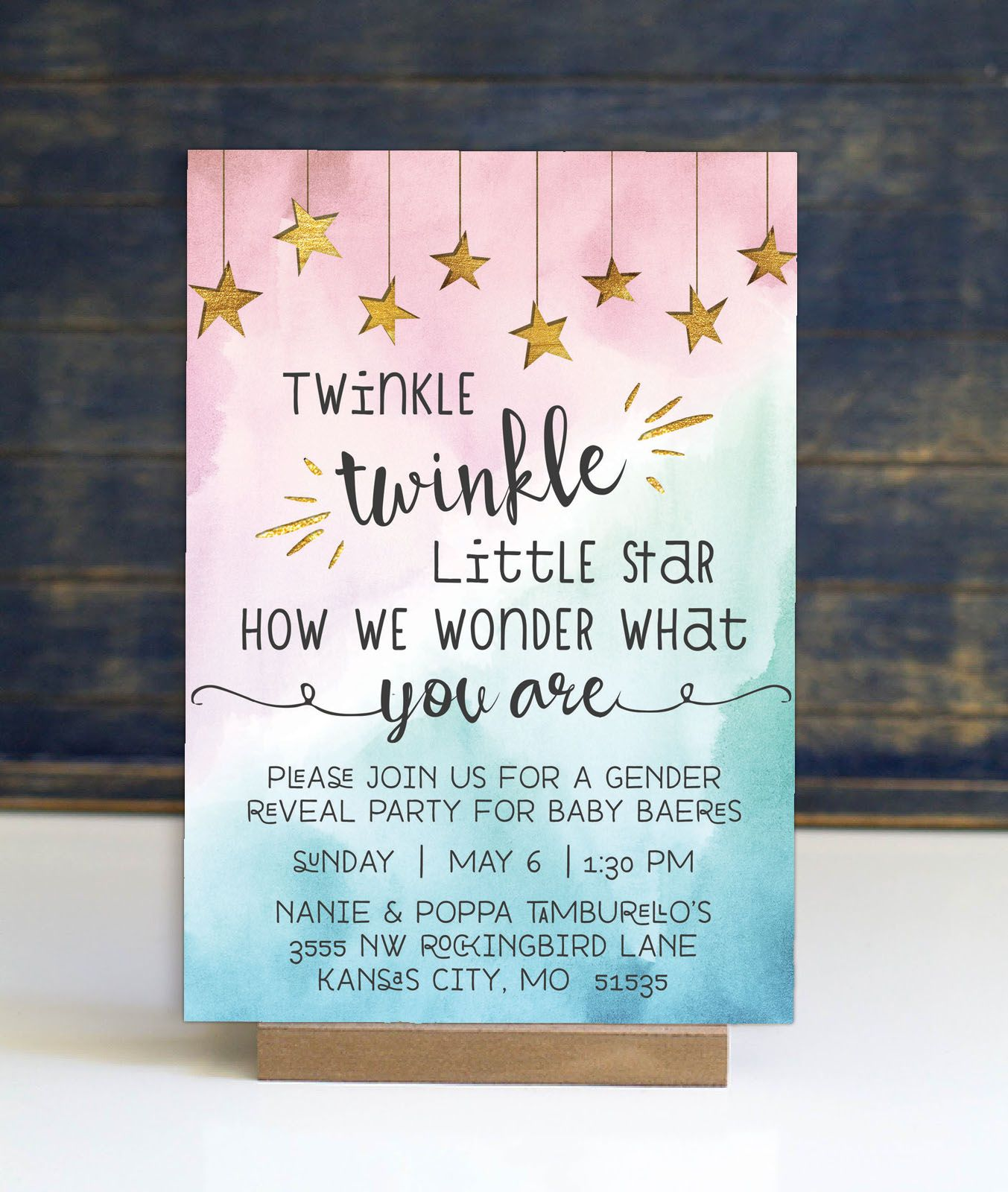 This Fun And Whimsical Gender Reveal Invitation Features