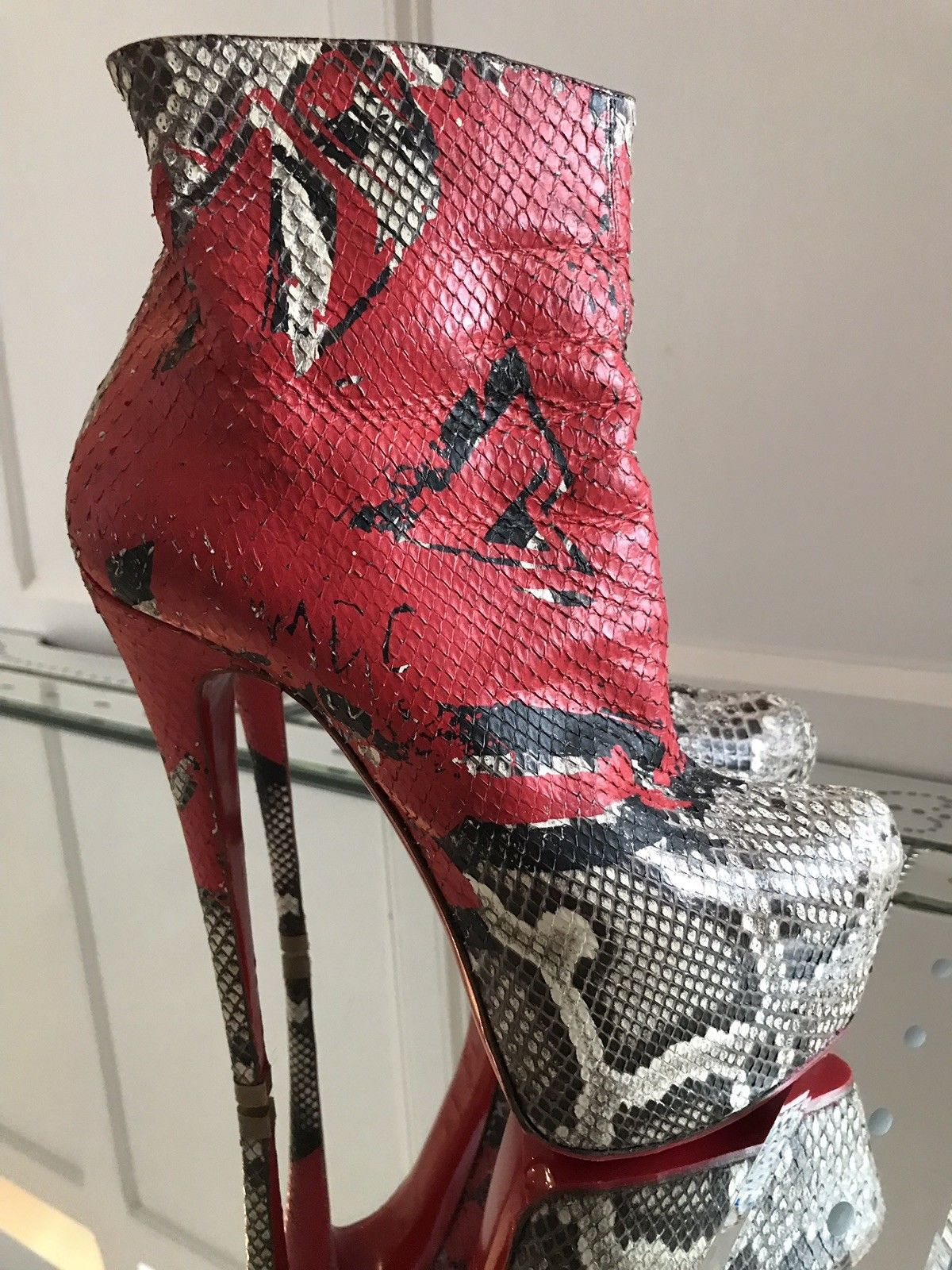 Christian Louboutin 20th Anniversary Daf 160 Python Ankle Boots Red
