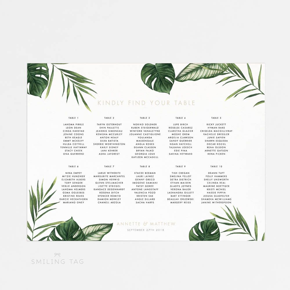 Printable seating chart poster modern tropical foliage wedding seat ready to print pdf item code  by smilingtag also rh pinterest