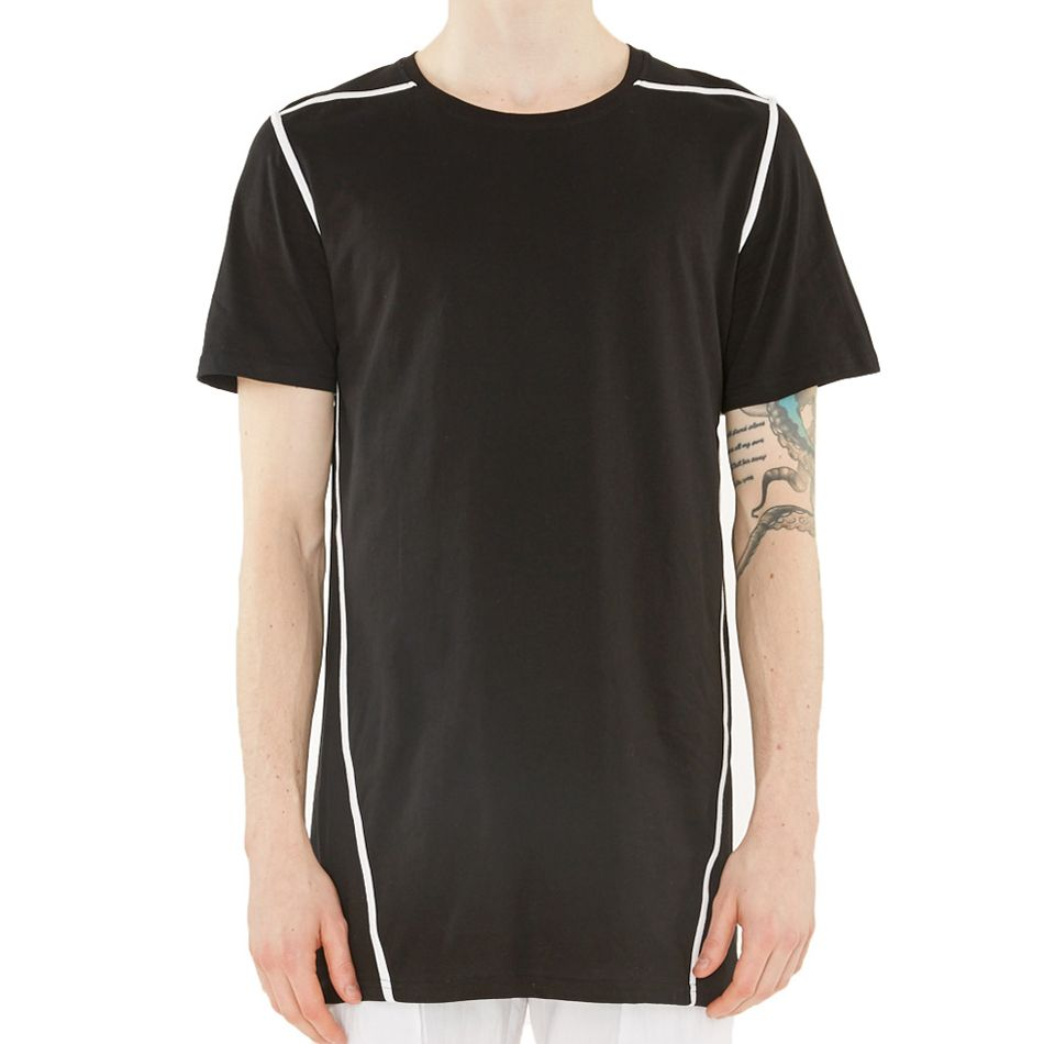 """Control Sector Black Ecliptic Tee $75.00 Short sleeves never looked so good, this black tee features lightweight cotton and white ribbing throughout."""