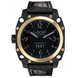 U-Boat Black Dial 18kt Yellow Gold