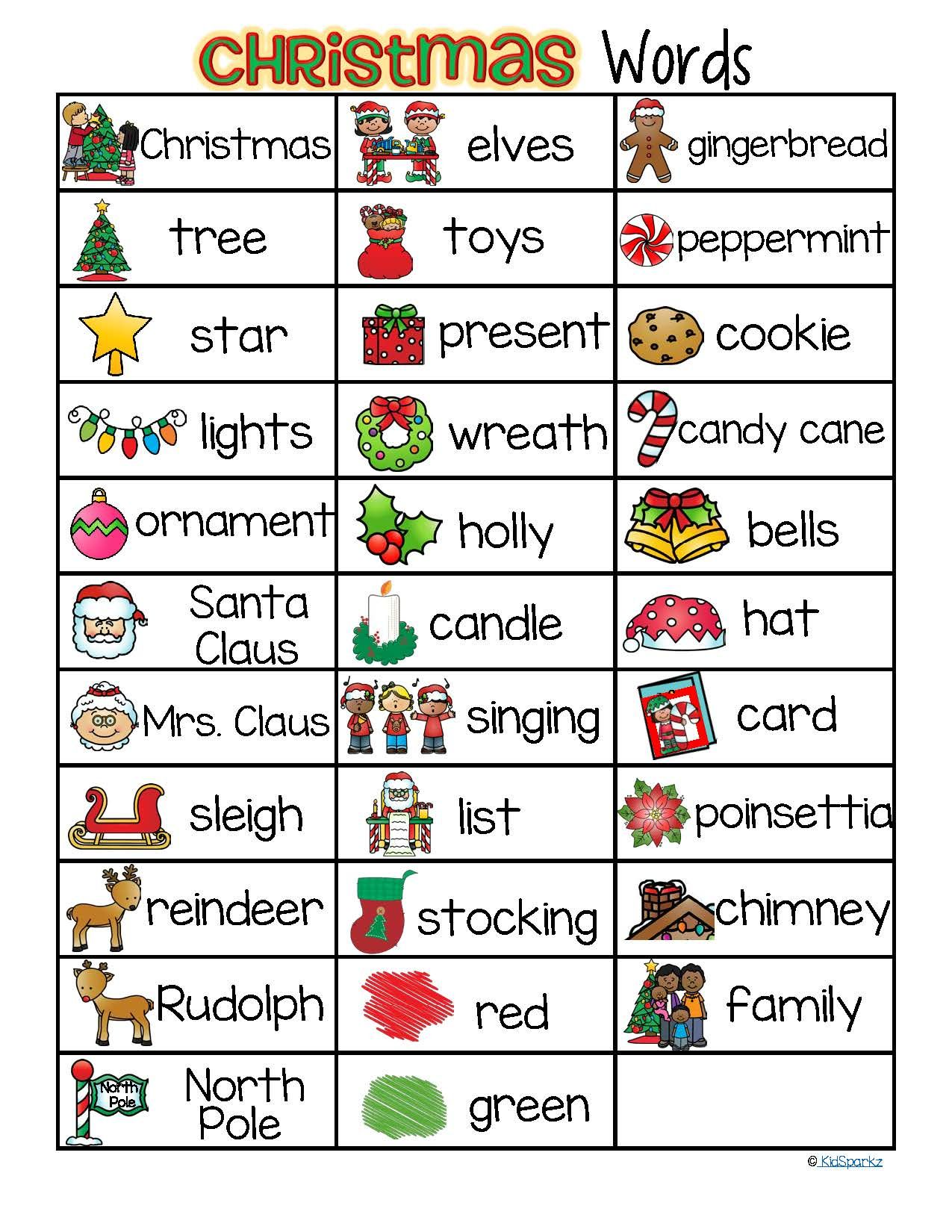 CHRISTMAS Vocabulary List 32 Words and Pictures FREE | Christmas ...