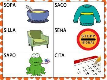 Spanish Cvcv And Cvcvcv Words With S Sound In The Initial Position Palabras Consonantes Silabas Habla Y Lenguaje