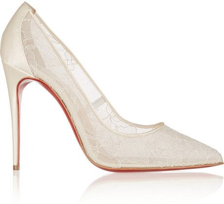 Christian Louboutin Follies 100 #lace and satin #pumps