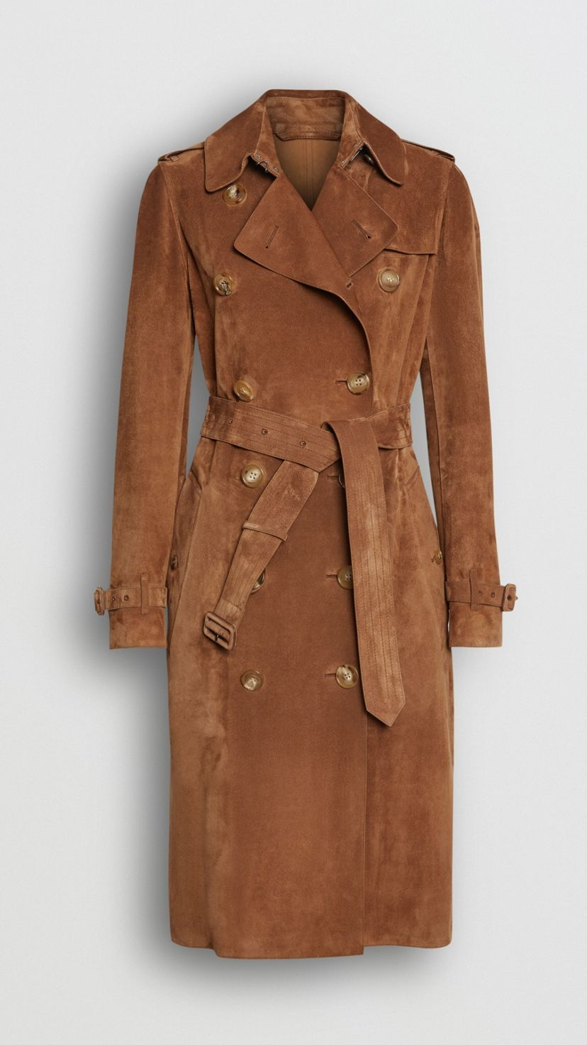 Suede Trench Coat in Sepia Brown Burberry United States