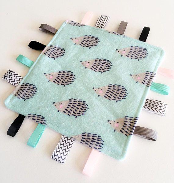 Taggy Blanket Baby Girls Blanket Gift Tag Blanket Bunny Rabbits Sensory Toy