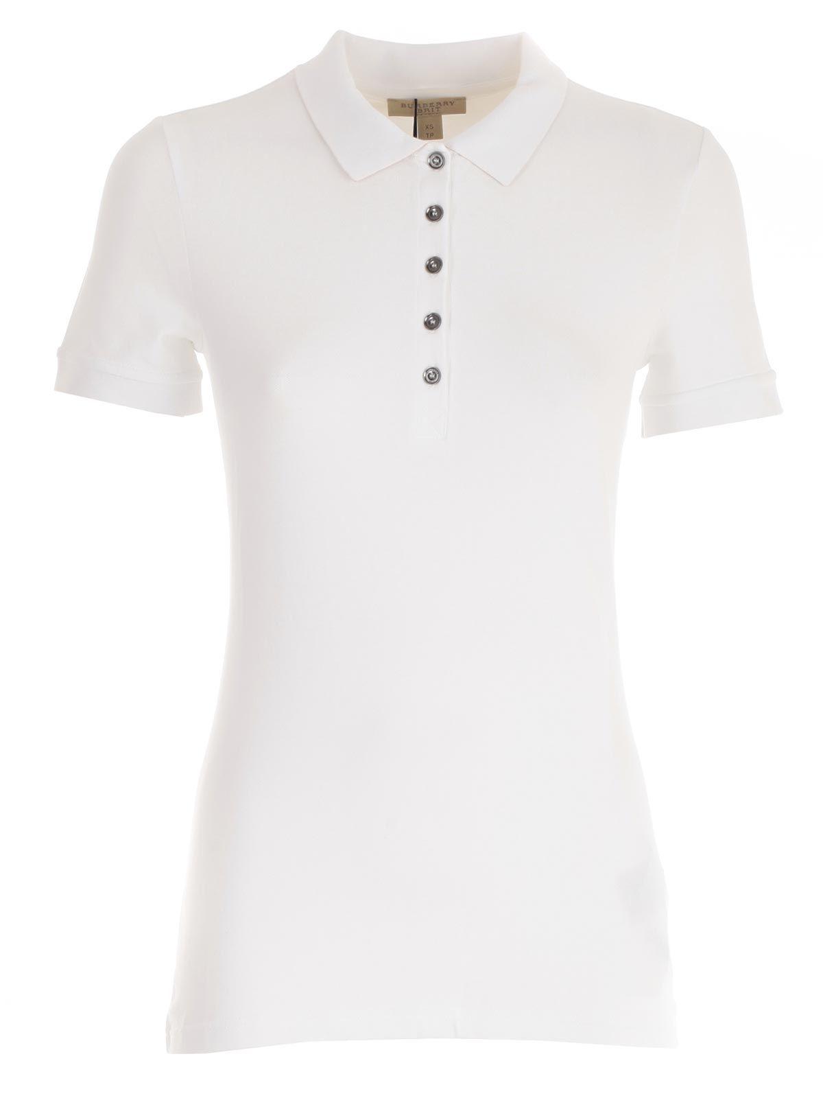 Burberry Polo Shirt In White | ModeSens | Polo shirt women, Polo ...