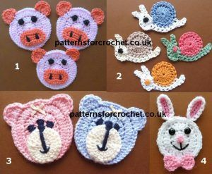 Free animal face applique crochet patterns free crocheted patterns