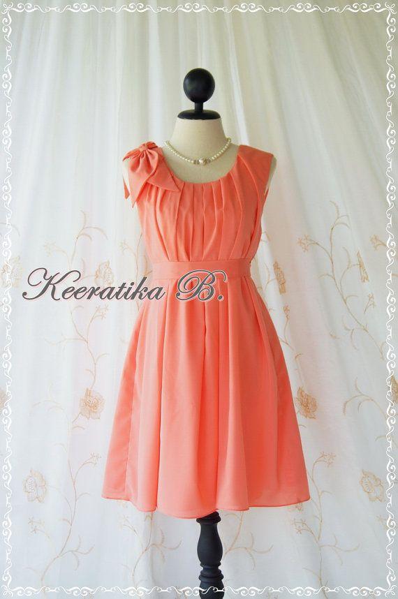 A Party Dress One Shoulder Layered Bow Dress Peach Tangerine Dress Prom Dress Party Bridesmaid Dress Wedding Dress Anniversary Dress