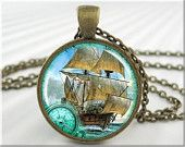 Nautical Art Pendant Nautical Jewelry Sailing Galleon Necklace Resin Picture Pendant (053RB)