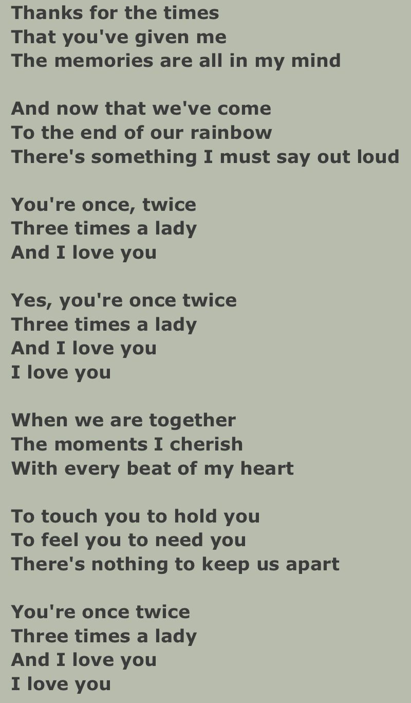 Lyrics Three Times A Lady By Commodores Songteksten