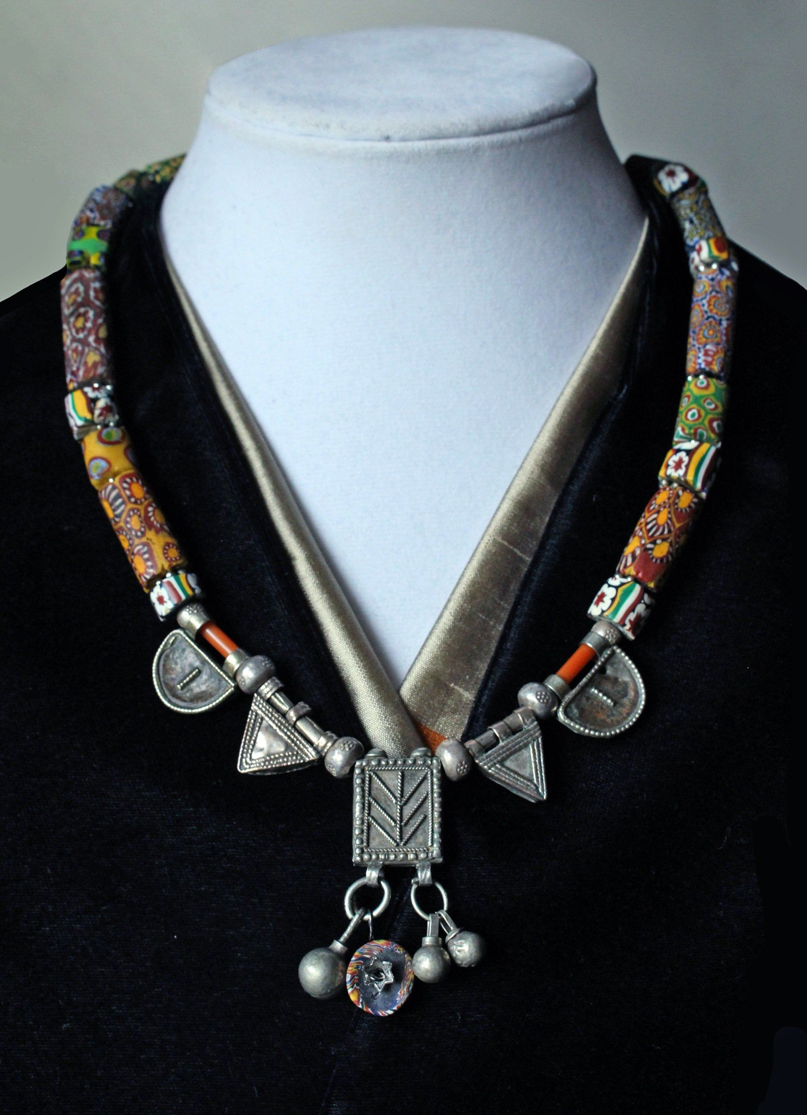 Quartz and Karen Hill Tribe Silver bead Necklace Beaded Necklace