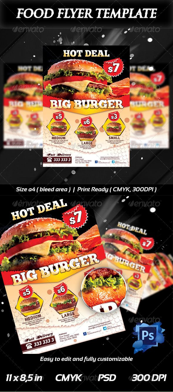 Fresh Burger Food Flyer Templates Graphicriver  Burgers