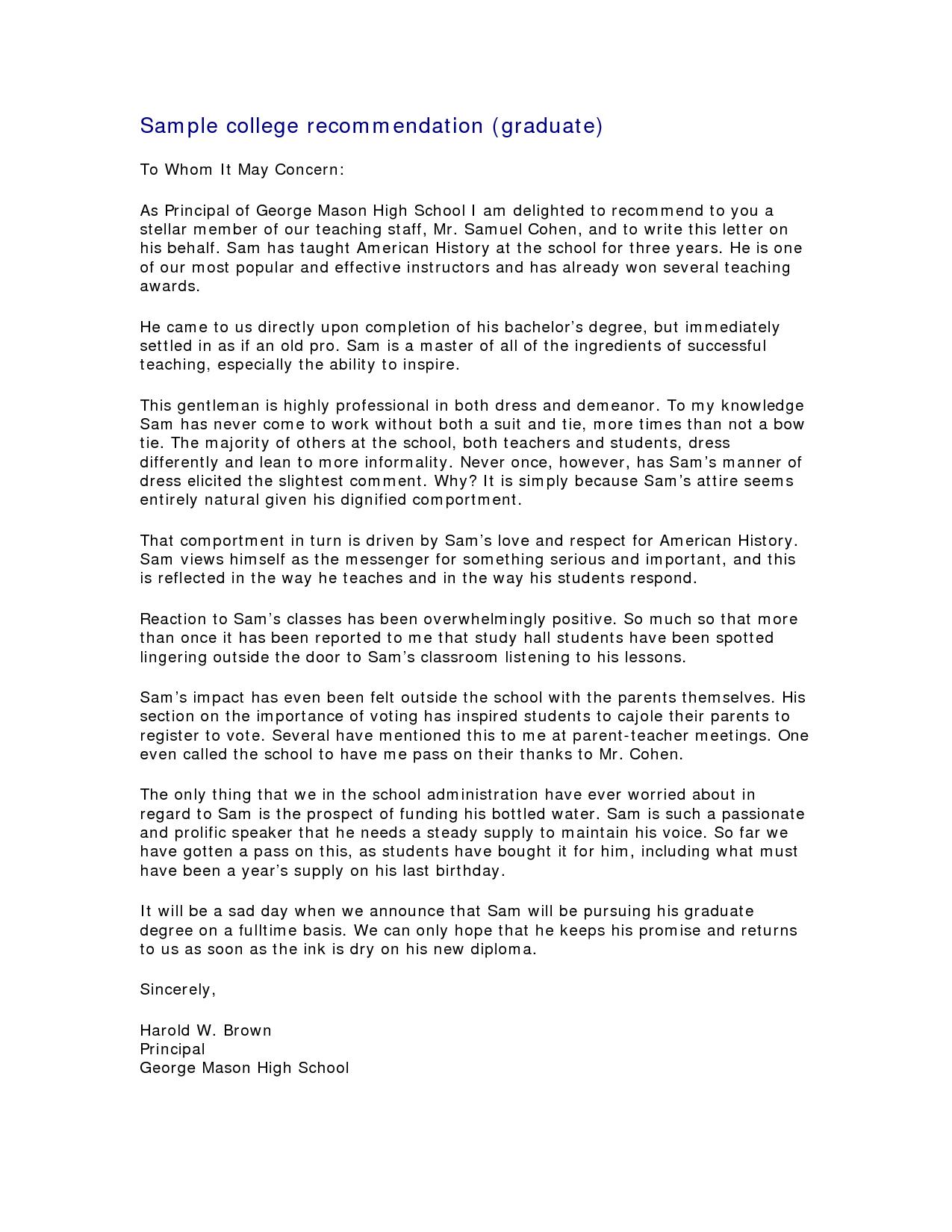 letter of recommendation for phd program