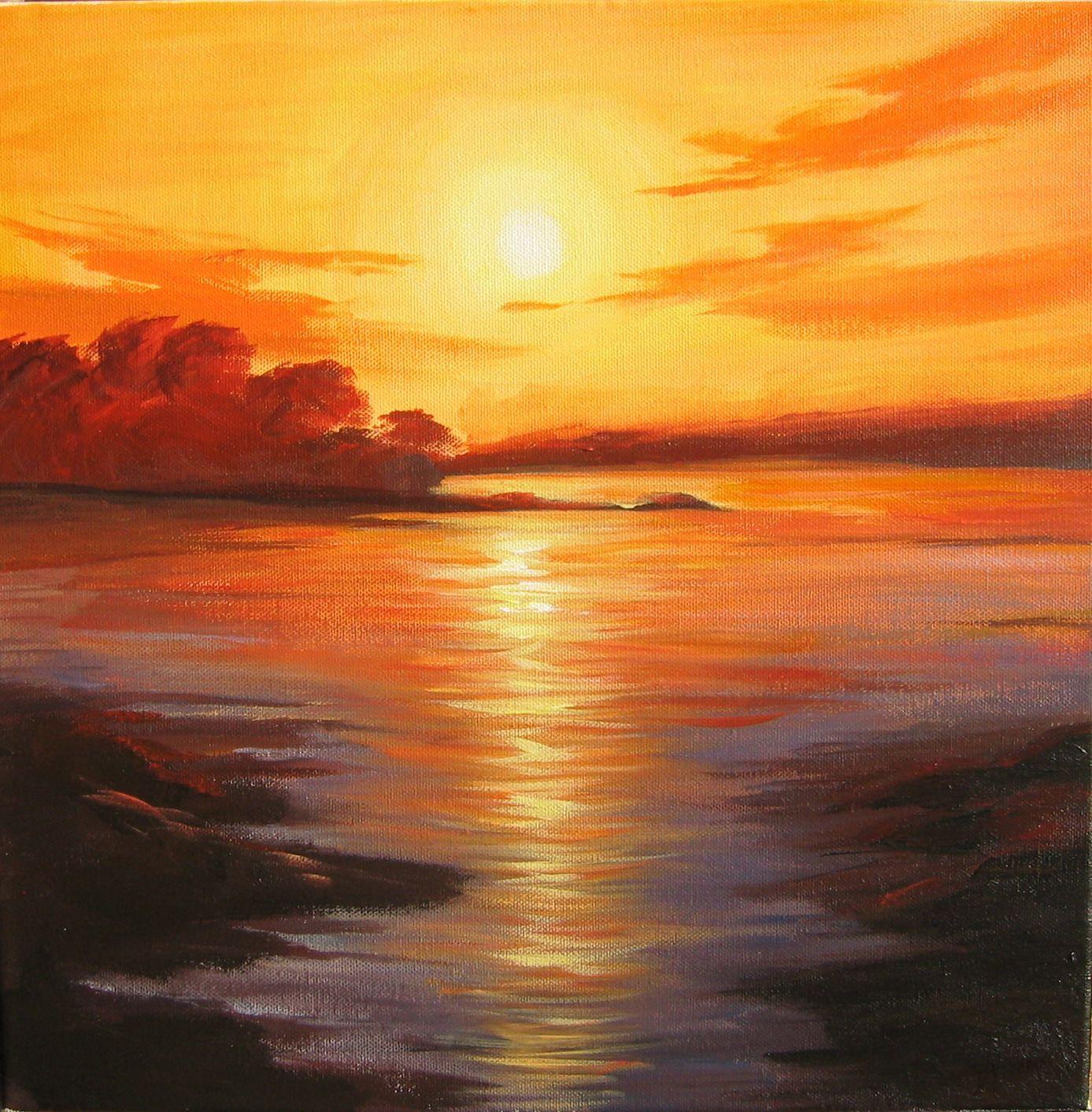 Watercolor Sunrise Sunrise Painting By Manzara Resimleri Resim