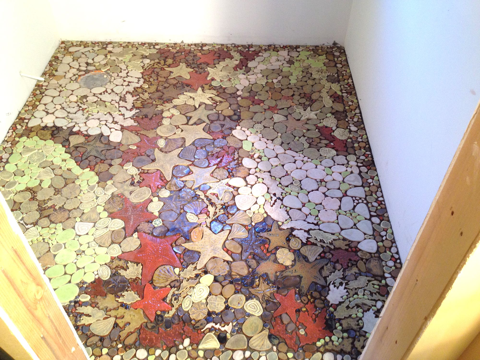 Bathroom floor tile tile pinterest tile murals and house the mural in unveiled dailygadgetfo Images
