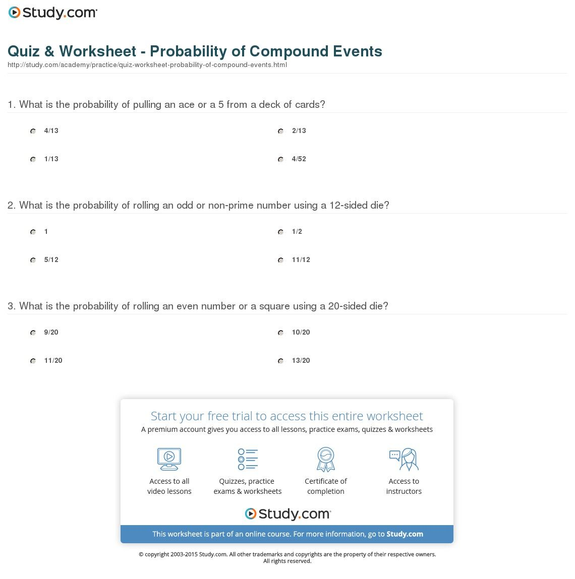 Image Result For Compound Event In Math Reading Worksheets Math