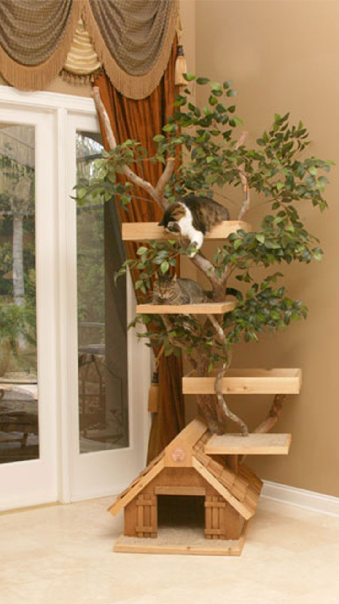 Cool Cat Tree Houses With Real Trees By Pet Tree House