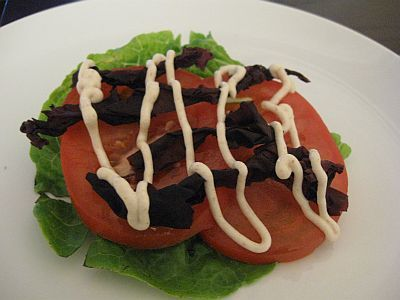 """""""BLT"""" using dulse seaweed and almond """"mayonnaise"""""""