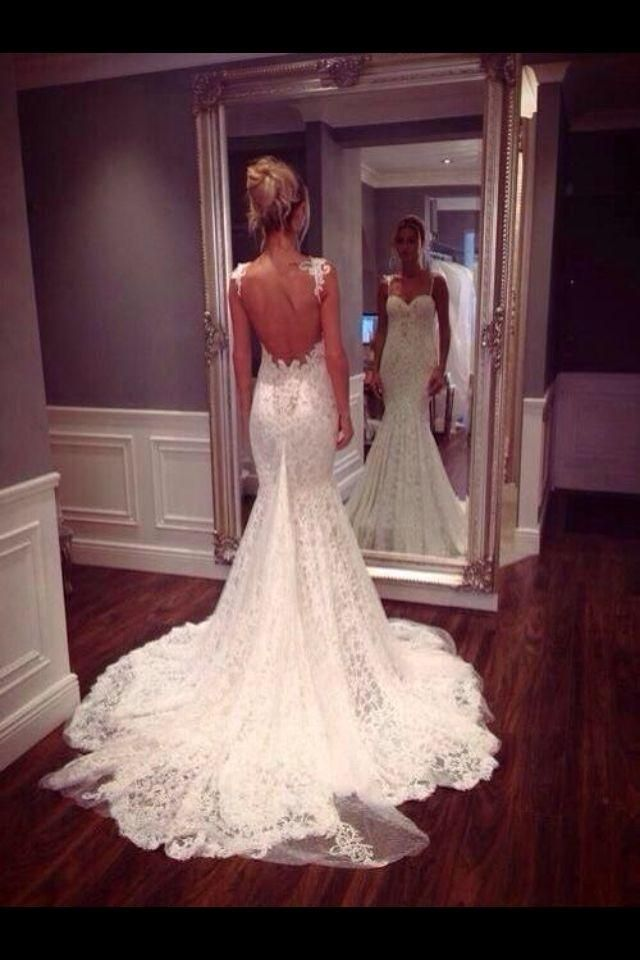 2017 Wedding Dresses Mermaid With Spaghetti Straps Open Back Fancy White Lace Backless Bridal Gown Thumbnail 3