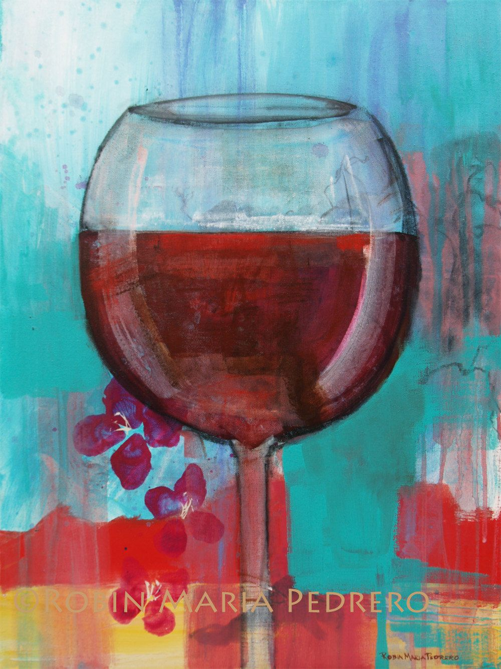 With Beautiful Artwork Designed By Robin Pedrero Red Wine Glass Let It Breathe Floral Art Print 30 00 Via Etsy Wine Painting Wine Art Floral Prints Art