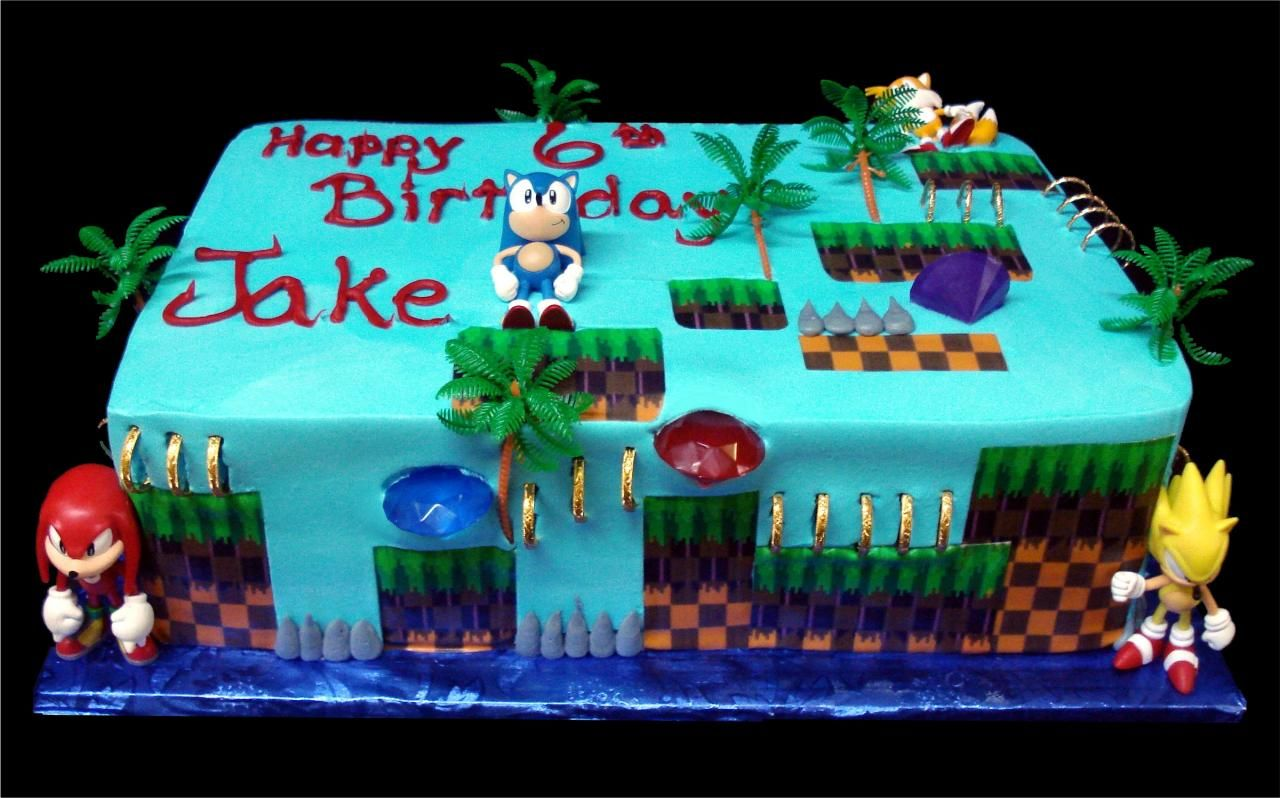 Sonic The Hedgehog Birthday Cake Blue Buttercream Iced Sheet Cake Decorated With Trees Gold Rings Jewels Hedgehog Cake Sonic Cake Sonic The Hedgehog Cake