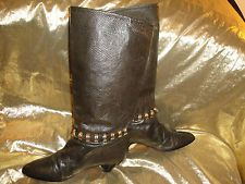 "Phyllis Poland Ladies Dark Hunter Green Embellished 15"" Leather Boots"