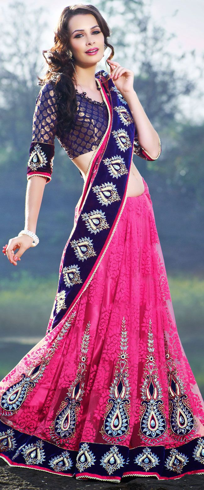 Lehenga saree for wedding bride fascinating pink and navy blue designer embroidered saree  ig