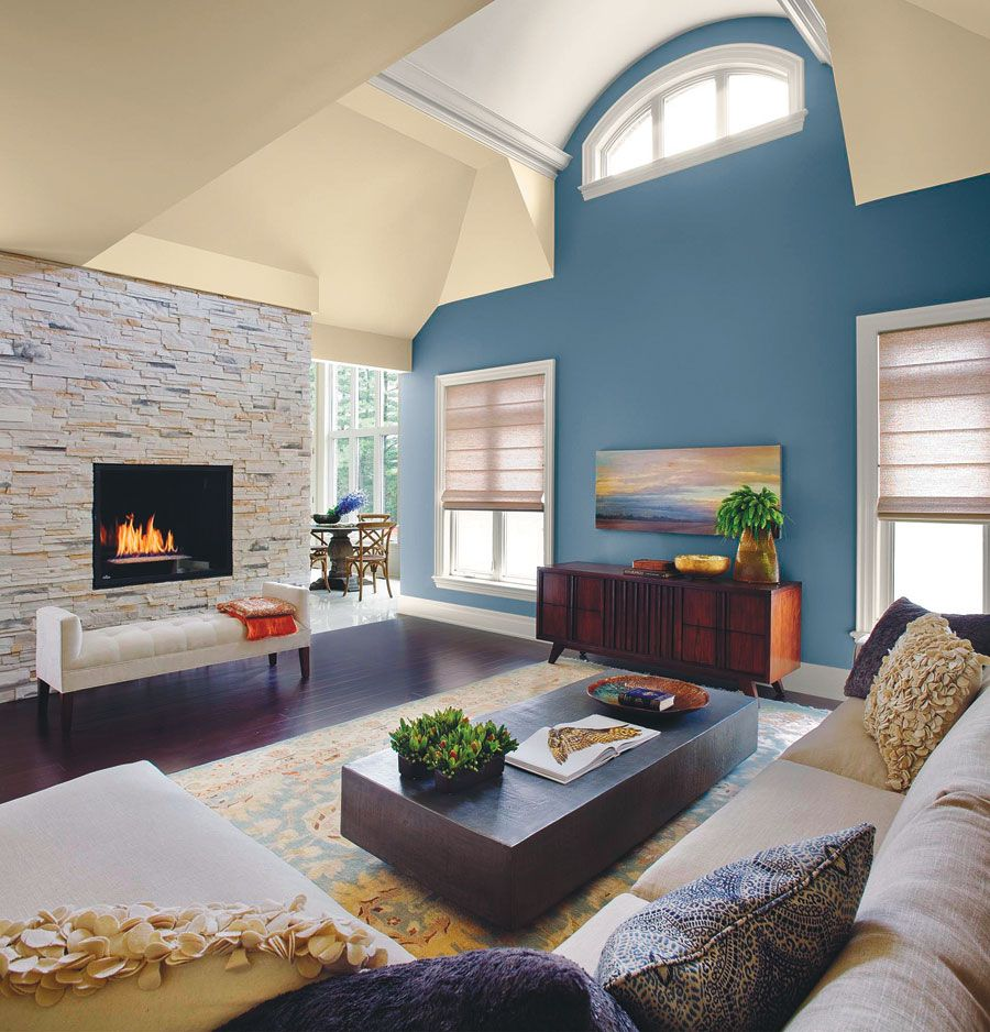 This living room exudes serenity, with the walls and ceiling ...