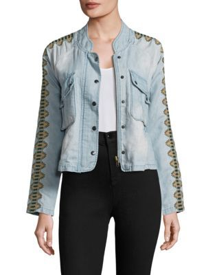FREE PEOPLE Embroidered Chambray Jacket. #freepeople #cloth #jacket